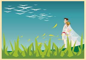 Bruid en bruidegom lopen in de tuin Illustratie vector