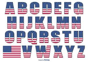 Patriotic Style Alphabet vector