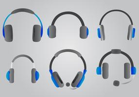 Blue Headphone Vector Set