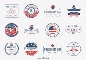 Presidents Day Sale emblemen Vector Set