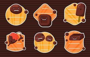 schattige chocolade stickercollectie vector