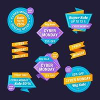 cyber maandag verkoop label collectie vector