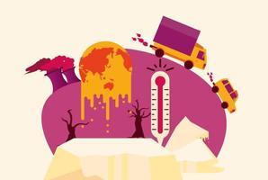 opwarmingsalarm met planeet in crisis vector