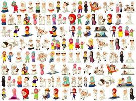 set van verschillende moslimmensen karakter op witte achtergrond