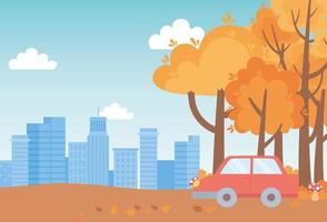 landschap in de herfst. auto, paddenstoelen, bomen en stadsgezicht vector