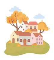 landschap in de herfst. huizen, bomen, bladeren en struiken vector