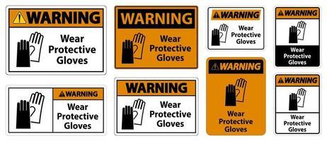 waarschuwing beschermende handschoenen dragen vector