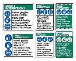 handschoenen, bril en gezichtsmaskers vereist teken vector