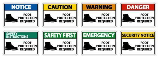 voetbescherming vereist muur vector