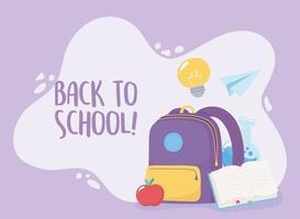 terug naar school. rugzak, papieren vliegtuigje en boek vector