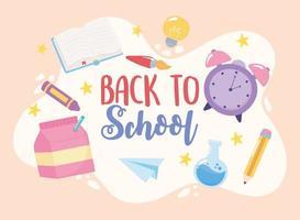 terug naar school. potlood, boek, krijt en penseel vector