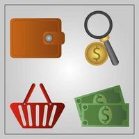 cyber maandag. portemonnee, munt, geld en winkelmandje vector