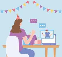 online feest. vrouw en man praten via de computer