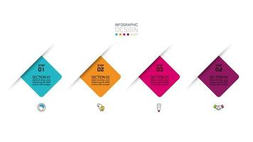 moderne 4-staps infographicspresentatie