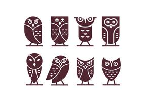 Dark Chocolate Brown Owl Vector Icons
