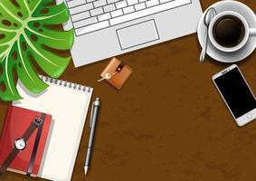 bovenaanzicht bureau-elementen met groene bladeren