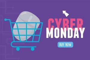 cyber maandag. muis in winkelwagen vector