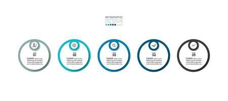 moderne 5-stappen ronde infographicspresentatie