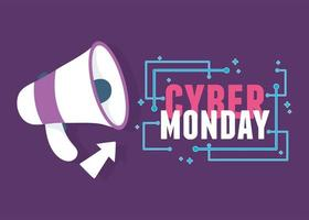cyber maandag. megafoon reclame en klik op pijl