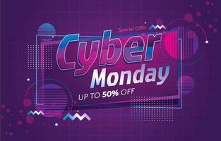roze en paars cyber maandag teksteffect vector
