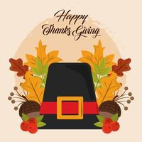 fijne thanksgiving day. pelgrimshoed, eikels en bladeren
