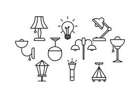 Gratis lampen Line Vector