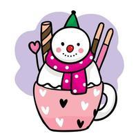 zoete sneeuwpop in een kopje thee met snoepjes