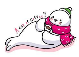 schattige cartoon zeehond koffie drinken