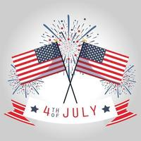 usa onafhankelijkheidsdag, vlaggen, vuurwerk en lint