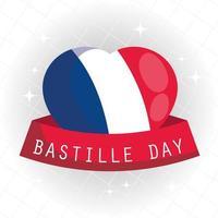 hart met lint van gelukkige bastille-dag