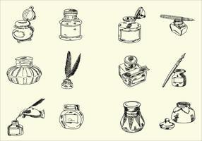 Schetsmatige hand getrokken Ink Jar Vectors