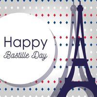 Eiffeltoren en cirkel van gelukkige bastille-dag