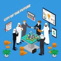 isometrische investeerders en stadsplanners aan het werk