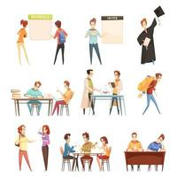 studenten instellen retro cartoon