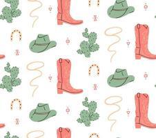 wilde westen cowboylaars en hoed naadloos patroon vector