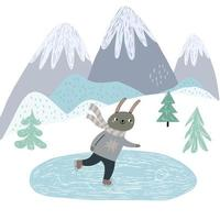 schattig konijntje schaatsen berg winters tafereel vector