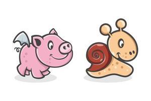 set van schattige cartoon baby varkens en slakken