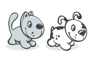 set van schattige cartoon baby kat en hond