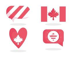 Canadese vlag, esdoornblad, bel en hart