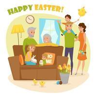 een gezin dat de paasvakantie viert