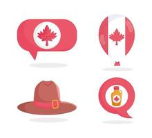 hoed, ahornsiroop, blad, ballon en spraakballon