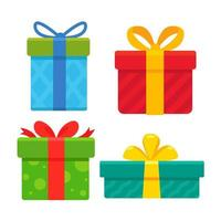 kerst geschenkdozen verpakt in kleurrijk papier vector