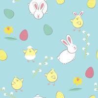 Pasen-patroon met eieren, konijnen, kippen, bloem