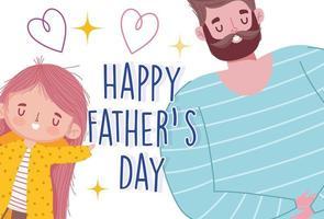 cartoon vader en dochter liefde harten kaart vector