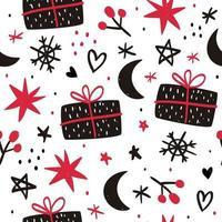 hand getekend kerst naadloze patroon