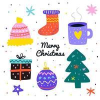 hand getrokken kerst elementen