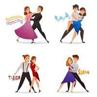 set cartoon paren dansen
