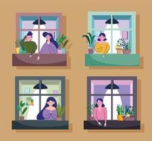 mensen keken uit het raam van hun appartement