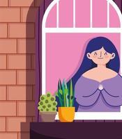 vrouw kijken naar het raam met potplant