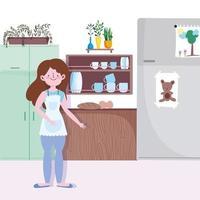 meisje met gebakken brood eten in de keuken